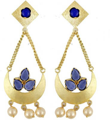 Gehnamart Ethnic Classic Blue Quartz Alloy Chandelier Earring