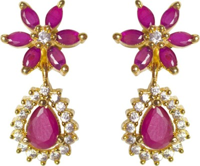 Jewelgrab Floral Polki Ruby Alloy Drop Earring