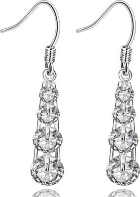 iSweven Vintage Wedding Long Latest Fashion Luxury Drop Silver Plated Dangling ED2554 Zircon Alloy Dangle Earring