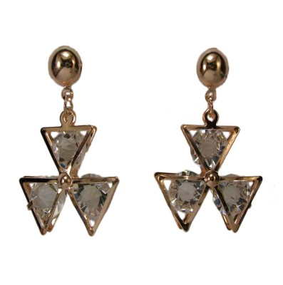 Bandish Rose Gold Toned with Encased Stones Metal Drop Earring