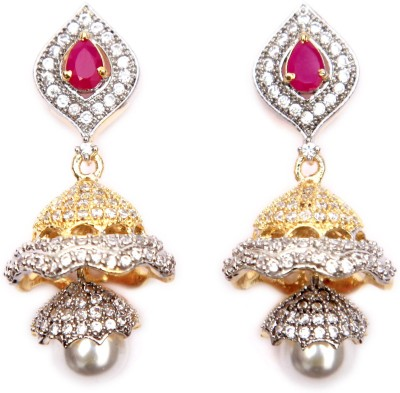 Aadhya Jewels American Diamond Cubic Zirconia Alloy Jhumki Earring