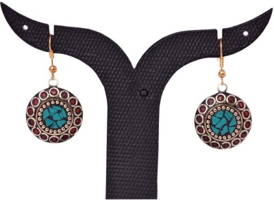 Tradition India TI70 Handmade Designer Stone Studded Traditional Lac Worked Brass Drop Earring