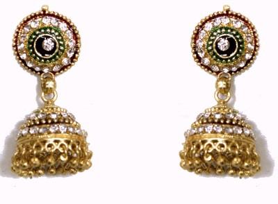 Giftmania Designer Green Crystal Golden Jwellery Crystal Brass Jhumki Earring