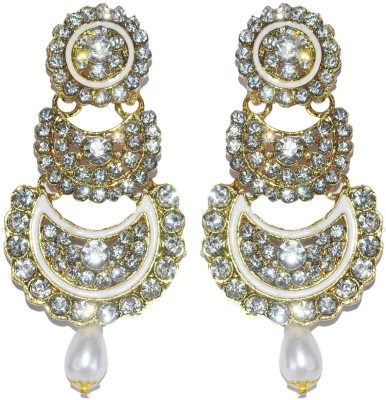 Royal Touch Hot Red Simulate Crystal Luxury Gold Plated Indian Wedding Long Bridal Brass Chandelier Earring