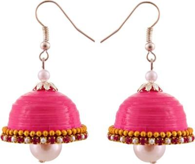 Jaipur Raga Hancrafted Pink Hook Jhumka Brass Jhumki Earring