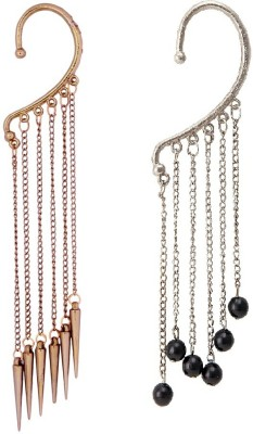 Pankh Pearls and Chain Alloy Cuff Earring