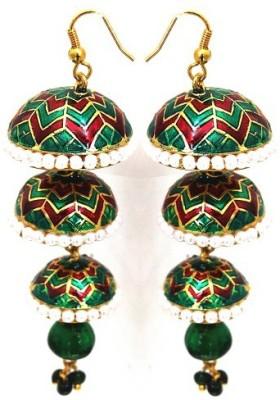 Kalaplanet Thewa 3 Layered Design Alloy Jhumki Earring