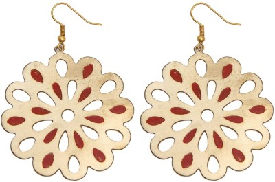 Swan Jewels Flower shaped earring in Gold and Red Metal Dangle Earring
