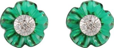 Gothis Emerald Flower Gold Stud Earring