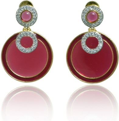 Jaipur Mart Designer Round Shape Red Meena Cubic Zirconia Brass Drop Earring
