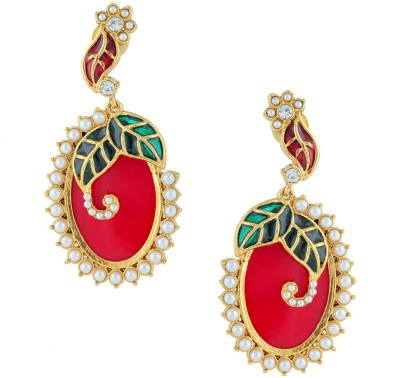 Gold & More Oval Shaped 1 Pearl Alloy Chandelier Earring