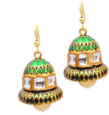 MK Jewellers MULTICOLOR MEENAKARI KUNDAN BELL SHAPED set-5 Brass Jhumki Earring