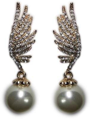 000 Fashions Assymetric Angel wing pearl Golden drop earrings Crystal Alloy Stud Earring