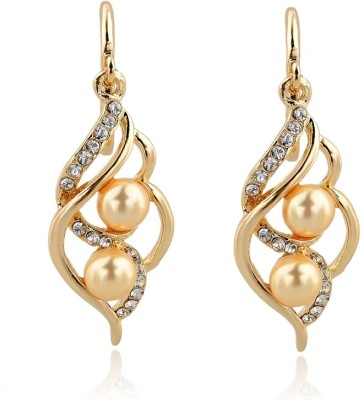 Kundaan Rich Elegant Pearl, Crystal Alloy Dangle Earring
