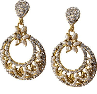 Utopian White Pearl and Stone Alloy Chandelier Earring