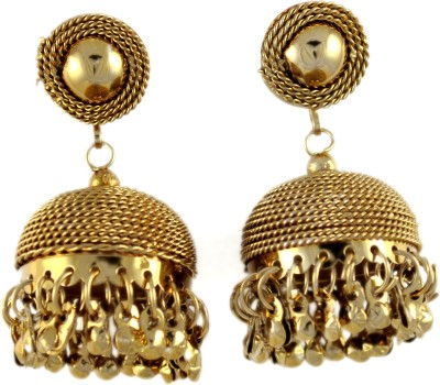 My Sara Earing In Brown Color For Party Cubic Zirconia Copper, Brass Jhumki Earring