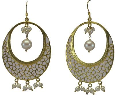 GnJ Filigree Pearl Sterling Silver Dangle Earring