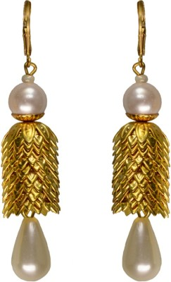 Rasaam White and gold Beads Alloy Drop Earring