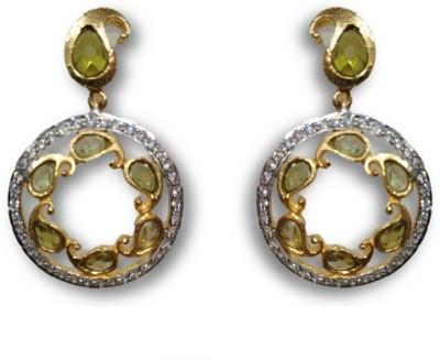Rajgharana Green Chakri Cubic Zirconia Alloy Drop Earring