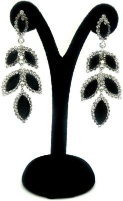 London Jewels Leafy Black Alloy Drop Earring