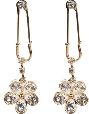 Divitha Allure very much in fashion new in design hanging flower paired with safty pin designed push back. Alloy Drop Earring