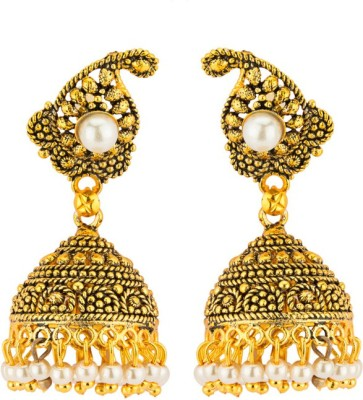 CTW Ethnic Yellowgold Brass Jhumki Earring