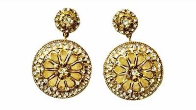 Mrinalini Golden Alloy Drop Earring