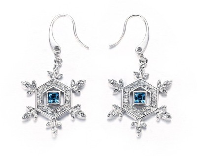 Nevi Snowflake Swarovski Crystal Metal, Crystal Dangle Earring