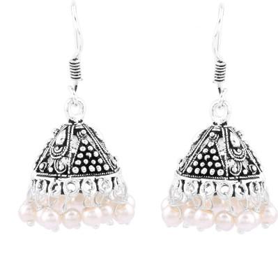 Silvery Metal Earring Jhoomki pearl Brass, Copper Jhumki Earring