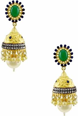 Orniza Rajwadi Earrings in Emerald Color with Golden Polish Brass Drop Earring