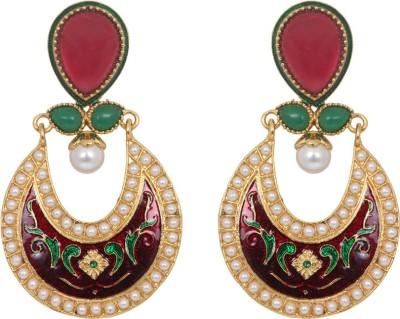 Jewelfin Meenakari Style Alloy Chandbali Earring