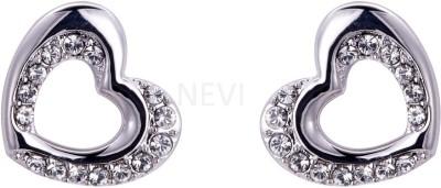 Nevi Silver Heart Swarovski Crystal Alloy, Crystal Stud Earring