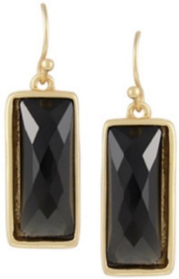 Bohocraft Parisienne Elegant, Stylish Midnight Black Gold Plated Rectangle Alloy Dangle Earring