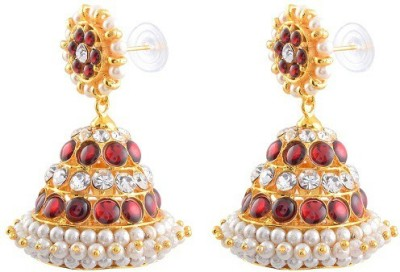 Shruthiumayal Services Red And White Jimikky Copper Jhumki Earring