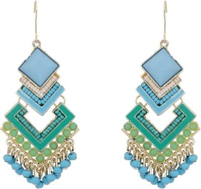 Amroha Crafts Aqua Geomatricals Alloy Dangle Earring