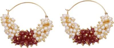 Muchmore Stunning Designer Bali Pearl Alloy Hoop Earring