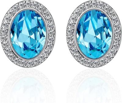 Yellow Chimes Glamorous Blue Hues Oval Swarovski Crystal Alloy Stud Earring