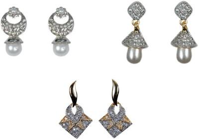 Rashi Jewellery Set Of 3 Combo Brass Earring Set