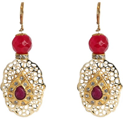Prystal Maroon and White Indian Earring Alloy Dangle Earring