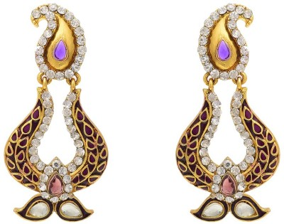 Aaishwarya Traditional Paisley Design Meenakari Purple Crystal Brass Chandbali Earring