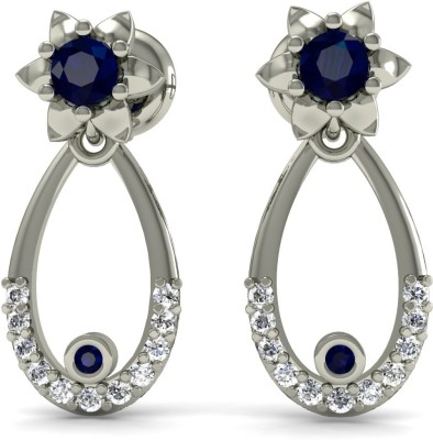 R S Jewels Creative Designs White Gold 18kt Diamond, Sapphire Drop Earring