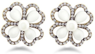 Jazz Jewellery Kundan Designer Pearl AD Stone Studded Flower Shaped Earring Alloy Stud Earring