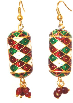 Red Gold Cylinder Terracotta Drop Earring