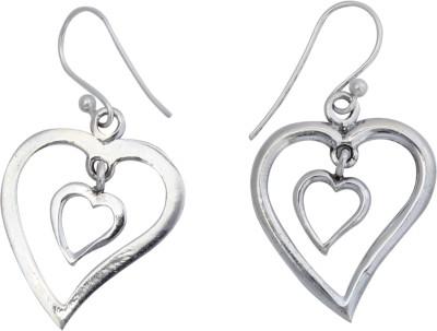 JHL Silver Heart Shaped Silver Dangle Earring