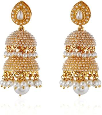 Royal Bling POOL OF PEARL STRIPE Copper Jhumki Earring