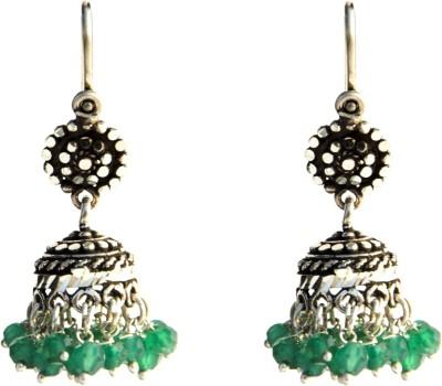 Aashirwad Green Hook Silver Jhumki Earring