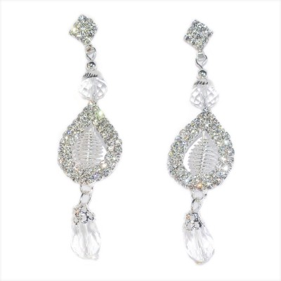 Royal Touch Crystal Luxury Platinum Plated Indian Wedding Brass Drop Earring