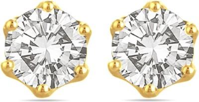 Voylla Hallmarked Round Shaped With Swarovski Zirconia Swarovski Crystal Gold Stud Earring at flipkart