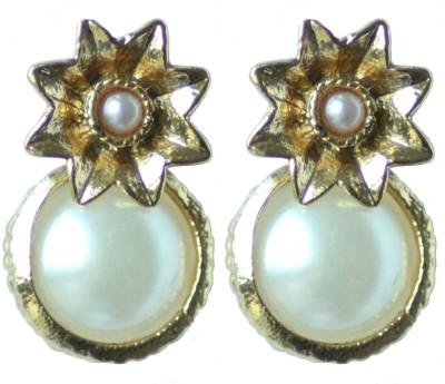 Aanjaneys Indian Ethnics Stylist Pearl Brass Drop Earring