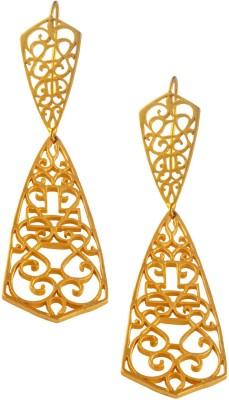 Jahnvi Fretted Gold Metal Dangle Earring